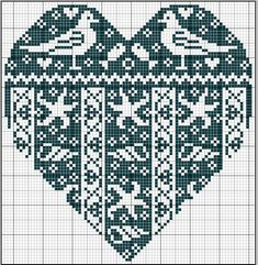 Sea heart. Dark background. Sewing pattern graph: cross stitch, plastic canvas.