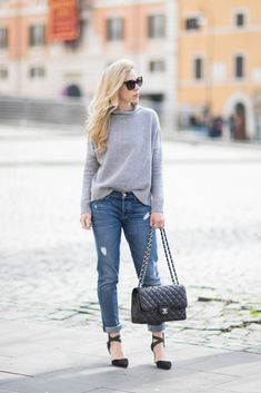 Relaxed Basics: hi-low hem oversized turtleneck, 7 For All Mankind 'Josefina' boyfriend jeans, black suede ankle strap pumps, Chanel Jumbo classic flap bag black caviar with silver hardware