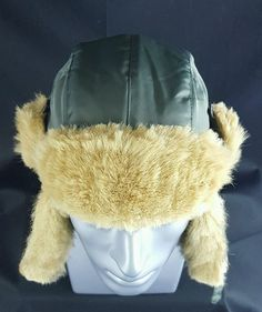 U3i Olive Trapper Hat With Earflap in Faux Fur Trim Size M L  U3i abd268d55741