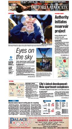 Here is the front page of the Victoria Advocate for Thursday, April 17, 2014. To subscribe to the award-winning Victoria Advocate, please call 361-574-1200 locally or toll-free at 1-800-365-5779. Or you can pick up a copy at one of the numerous locations around the Crossroads region.
