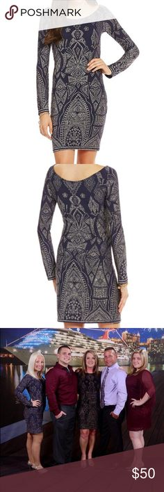 Formal dress Dark blue, beautiful glitter pattern, bateau neckline, with long sleeves & above the knee. Only worn once. In perfect condition! Jump Dresses Long Sleeve