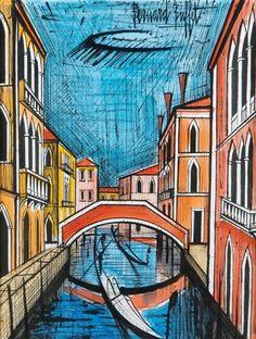 Bernard Buffet - Rio à Venise; Medium: ink and watercolor paper; Dimensions: 25.2 X 18.9 in (64 X 48 cm)