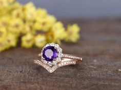 1.2 Carat Round Amethyst Wedding Ring Set 14k Rose Gold Flower Engagement Ring Halo Moissanite and Diamond Infinity Matching Band - BBBGEM