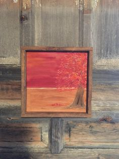 Hand Engraved Wood, Fall Home Decor, Autumn, Rustic, Camp, Primitive, Wall Art, Mantle, Red Sunset Sky, Tree, Falling Leaves, Landscape