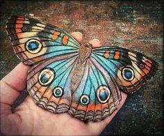Tooled leather buckeye butterfly hair barrette with stick - Artisan hair barrette - Original gift for her Butterfly Hair, Butterfly Painting, Beautiful Bugs, Beautiful Butterflies, Beautiful Creatures, Animals Beautiful, Leather Tooling, Tooled Leather, Buckeye Butterfly