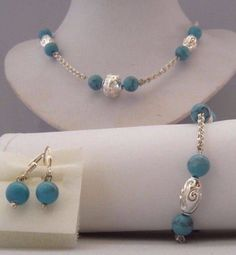 TURQUOISE 925 STERLING NECKLACE BRACELET & DROP EARRING SET. NEW! SHIPS FREE!