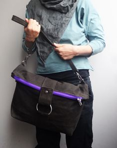 Waxed Canvas Messenger Bag Folded Shoulder Bag Minimalistic Diaper Bag Waxed canvas, minimalistic bag. Dark gray hand waxed, high quality Italian canvas.  Gray cotton lining with 3 slip pockets and pencil slot. To organize your small things.