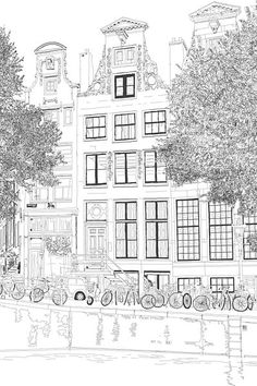 Watercolor Trees, Watercolor Drawing, Watercolor Landscape, Watercolor Portraits, House Colouring Pages, Mandala Coloring Pages, Amsterdam Art, Colour Architecture, City Drawing