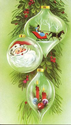 Vintage Christmas card with ornaments.