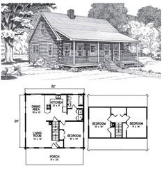 The Katahdin is truly a classic log home. With its full-length farmer's porch and traditional log cabin lines, the Katahdin is designed to harmonize with t Cabin Plans With Loft, Small Cabin Plans, Log Cabin Floor Plans, Cabin Loft, Cabin House Plans, Log Cabin Kits, Tiny House Cabin, Log Cabin Homes, House Floor Plans