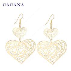 الذهب مطلي تتدلى الأقراط الطويلة للنساء المحب cacana ضعف القلب أعلى جودة المصوغات الساخن بيع رقم A395 a396