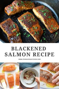 This easy and pan seared blackened salmon recipe uses a homemade spice blend for crispy, flavorful fish. Make this 15 minute recipe for a delicious dinner! #blackenedsalmon #salmonrecipe #dinnerrecipe Healthy Salmon Recipes, Seafood Recipes, Healthy Meals, Dinner Recipes, Homemade Spice Blends, Homemade Spices, Best Gluten Free Recipes, Low Carb Recipes