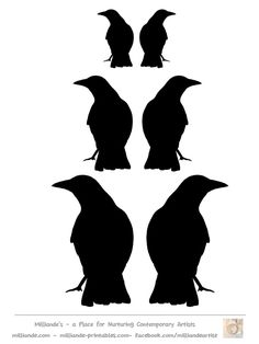 Crow Silhouette Template Collection, Milliande's Printable Crow Silhouette Stencils & Crow Templates for Mixed Media Artists and Art School Art Portfolio Ideas and Resources of Crow Images Halloween Sillouettes, Halloween Prints, Halloween Cards, Holidays Halloween, Halloween Diy, Halloween Mantel, Crow Silhouette, Samhain, Art Journals