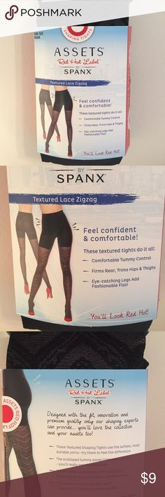 💕Assets By Spanx💕Texture Lace Zig Zag Tights 💕Assets By Spanx💕Texture Lace Zig Zag Print Tights , comfortable Tummy control  Firms rear & trim's hips and thighs Assets By Spanx Accessories Hosiery & Socks