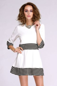New Fashion Women's Long Sleeve Grid Pattern Patchwork Elegant Casual Work Party Dress