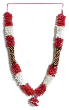 White with Red Silk Ribbon Garland with Beads - 55 + 26 inches Ribbon Garland, Pom Pom Garland, Beaded Garland, Garlands, Red Ribbon, Silk Ribbon, Hindu Rituals, Red Silk, Tassel Necklace