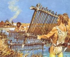 Mesolithic people laying fish traps among the reeds by Pierre Joubert Ancient Art, Ancient History, Art History, Prehistoric Man, Prehistoric Animals, Ages Of Man, Early Humans, Indigenous Tribes, Primitive Survival