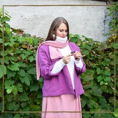 A heavy weight linen jacket that can complement your fall look. Available in two colors, closes with a wide belt, has wide sleeves at the hem, more like a bell, very comfortable and suitable to every body type. Linen Jackets, Piece Of Clothing, Fall Looks, Body Types, Raincoat, High Neck Dress, Belt, Colors, Sleeves
