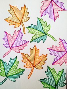 Simple leafy stencils, doodled with stripes and circles. Such a cute project for… – Doodles Autumn Crafts, Autumn Art, Leaf Stencil, Stencils, Fall Art Projects, 5th Grade Art, Art Lessons Elementary, Leaf Art, Art Plastique