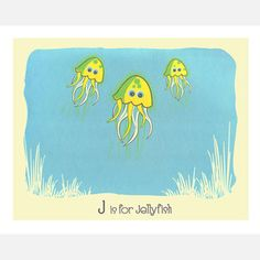 J is for Jellyfish 14x11 now featured on Fab.
