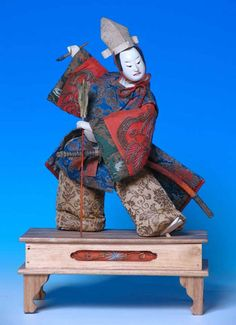 "Japanese Takeda Ningyo, depicting  a kabuki actor on the stage 16"" High overall Edo Period, ca. 1820"