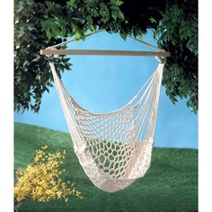 Perfect to hang on porch or branch. This Comfy Garden Hammock Cradle Chair will quickly become your favorite place to relax! Max. Wt.: 200 lbs. Cotton with wood