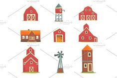 Farm buildings and constructions set, countryside life and agriculture industry objects vector Illustrations by TopVectors on @creativemarket