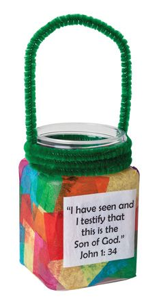 """Good News Lanterns from Guildcraft Arts & Crafts! Lights the way in revealing the Good News that Jesus is God's son! Includes plastic bottles, precut tissue squares (assorted colors), nontoxic glaze, chenille stems and paint brushes. 2"""" x 3"""" x 5 /2"""". #VBS14 #VBSSPY"""