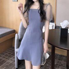 Korean Fashion Dress, Ulzzang Fashion, Fashion Dresses, Edgy Outfits, Korean Outfits, Elegant Dresses For Women, Cute Dresses, Types Of Fashion Styles, Grunge