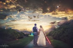 Talk about an epic wedding photo! This Star Wars-inspired photo will transport you to a galaxy far, far away.