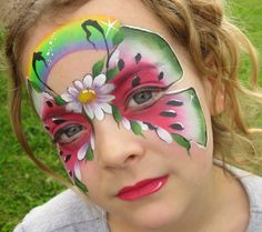 one stroke face paint designs Face Painting Supplies, Face Painting Stencils, Face Painting Designs, Body Painting, Face Painting Flowers, Butterfly Face Paint, Paint Flowers, Watermelon Face, Paper Punch Art
