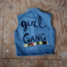 Vintage DENIM Upcycled GIRL GANG Vest m by heightofvintage on Etsy
