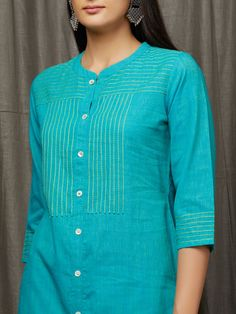 Buy Aqua Blue Hand Embroidered Cotton Kurta online at Theloom