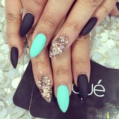Matte Aqua blue / black and gold accent nail designs| We Heart It
