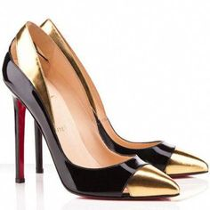 07adb74981 Christian Louboutin Duvette 120mm Patent Laeather Pumps Black & Gold  #ChristianLouboutin Cheap Christian Louboutin