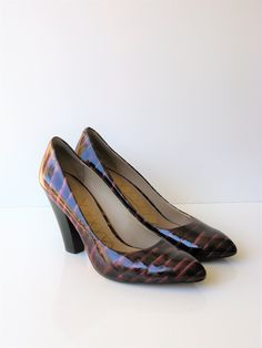 Joan & David Patent Leather Reptile Print Burgundy Pumps 9.5