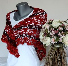 Scarf, shawl, red scarf, red shawl by ColorfullmadeShop on Etsy Red Shawl, Red Scarves, Crochet Fashion, Knit Crochet, Trending Outfits, Etsy, Vintage, Dresses, Vestidos