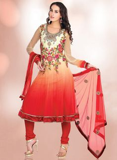 Cbazaar Red Net Churidar Suit