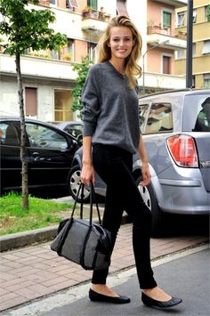 slouchy gray sweater, black skinnies, black flats . . . easy and cute