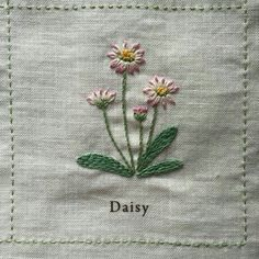 flower embroidery by Nuu Amu ~ ki to hi ~の画像 Sewing Stitches, Hand Embroidery Stitches, Silk Ribbon Embroidery, Hand Embroidery Designs, Embroidery Applique, Cross Stitch Embroidery, Cushion Embroidery, Embroidery Flowers Pattern, Japanese Embroidery