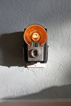 Vintage camera re-purposed as a night light