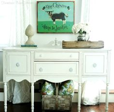 Ann from Farmhouse Blues Interiors took a Craigslist buffet and transformed it in Country Chic paint in the color Vanilla Frosting (love the name! Just beautiful. Drawer Inspiration, Furniture Inspiration, Color Inspiration, Painting Inspiration, Blue Furniture, Painted Furniture, Diy Furniture, Decoupage Furniture, Furniture Projects