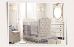 Love the lavender crib sheets & ruffled skirt  Rooms | Restoration Hardware Baby & Child