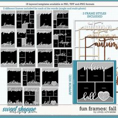 Cindy's Layered Templates - Fun Frames: Fall by Cindy Schneider Frame Template, Layout Template, Halloween Themes, Fall Halloween, Drop Shadow, Scrapbook Templates, Autumn Theme, Page Layout, Digital Scrapbooking