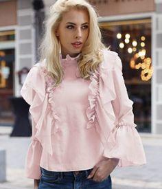 Camasa dama cu volane vaporoasa Ruffle Blouse, Casual, Tops, Design, Women, Fashion, Moda, Fashion Styles
