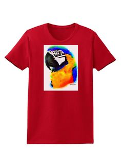 Brightly Colored Parrot Watercolor Womens Dark T-Shirt