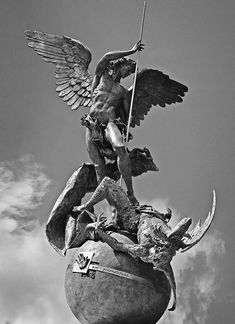 "coriesu: ""Saint Michael Archangel Pray for Us! Angels Among Us, Angels And Demons, Archangel Michael Tattoo, Saint Michael Tattoo, Michael Angelo Tattoo, Saint Michael Statue, St. Michael, Sculpture Art, Sculptures"