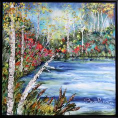 A walk by the lake, 60x60, Black frame, Landscape Abstract Impasto Painting, Item# 139