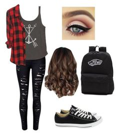 """Untitled #7"" by saramedina951 on Polyvore featuring WithChic, Billabong, Converse and Vans"