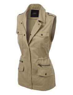 LE3NO Womens Sleeveless Military Anorak Jacket Vest with Pockets